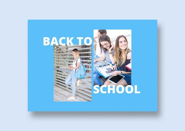 Social media post mockup con il ritorno al concetto di scuola