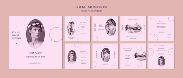 Social media post pastel neo art ontwerpsjabloon