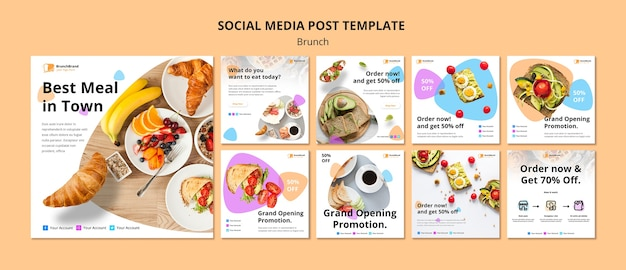 Social media post sjabloon met brunch concept