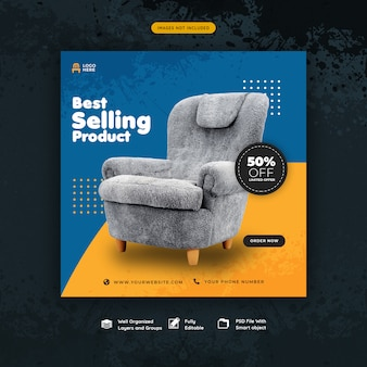 Social media post sjabloon voor meubels verkoop