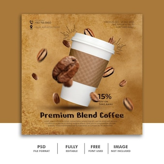 Social media post-sjabloon voor restaurantvoedselmenu premium koffie