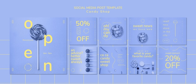 Social media post sjabloon voor snoepwinkel