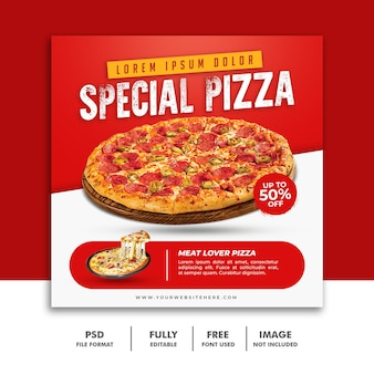 Social media post-sjabloon voor spandoek voor restaurant fast food menu speciale pizza