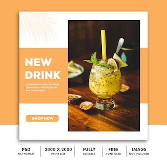 Social media post template instagram, drink food orange elegante