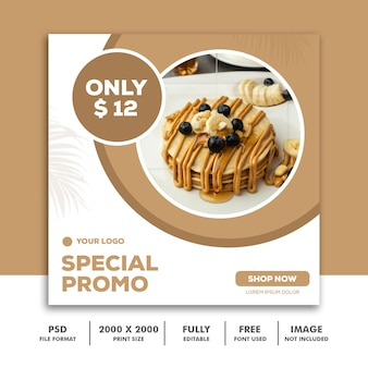 Social media post template square banner for instagram, restaurant food clean modern pancake modern
