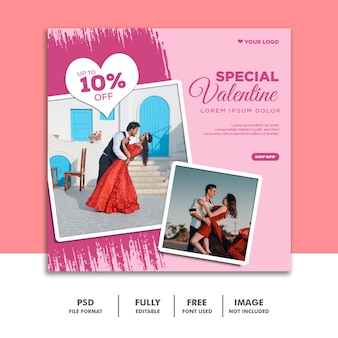 Social media post valentine banner instagram, matrimonio di coppia