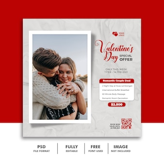 Social media post valentine-sjabloon love couple