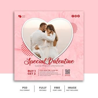 Social media post valentine-sjabloon voor spandoek voor koppels