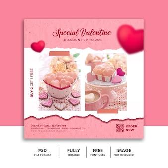 Social media post valentine-sjabloon voor spandoek voor voedselmenu