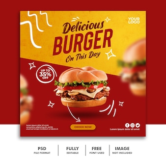 Social media post vierkante sjabloon voor spandoek voor restaurant fast-food menu special burger