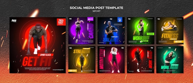 Social media-post voor fitnesslessen