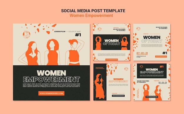 Social media posts over empowerment van vrouwen Gratis Psd