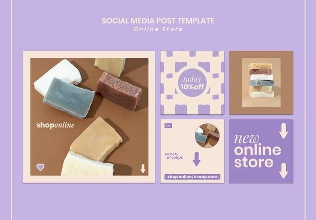 Social media posts van handgemaakte zeepwinkels