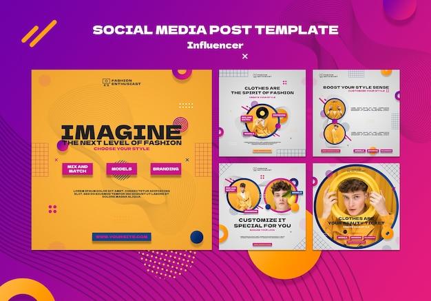 Social media posts van influencers