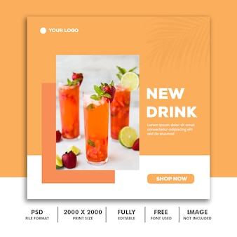 Social media postsjabloon instagram, drink eten sinaasappel schoon elegant
