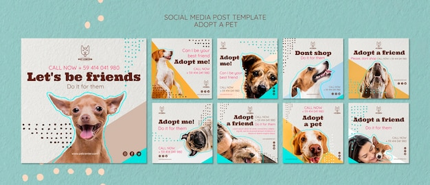 Social media postsjabloon met adoptie van huisdieren