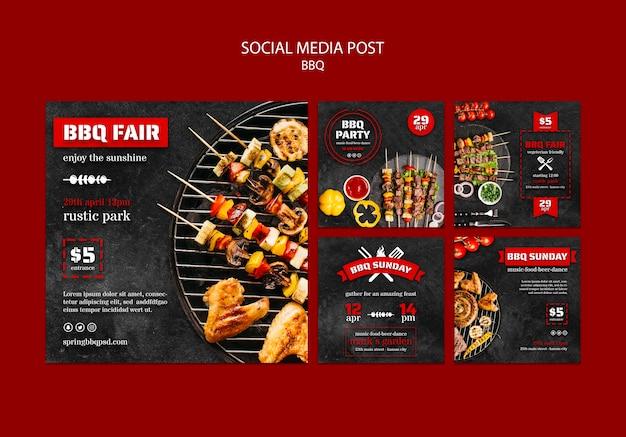 Social media postsjabloon met bbq