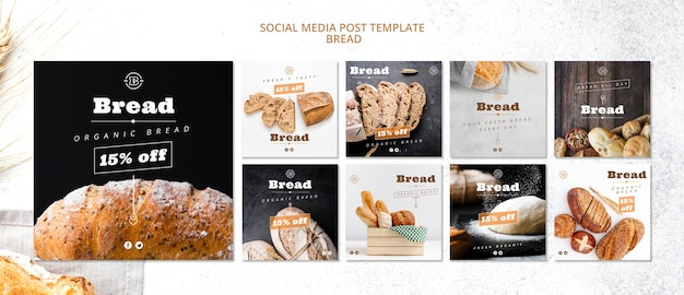 Social media postsjabloon met brood