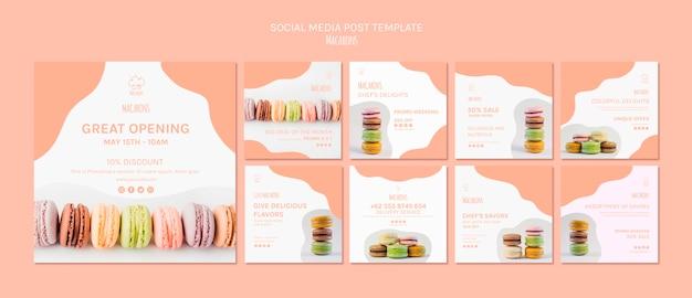 Social media postsjabloon met macarons