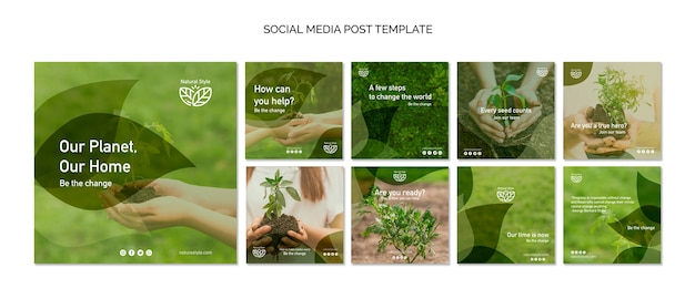 Social media postsjabloon met milieuthema