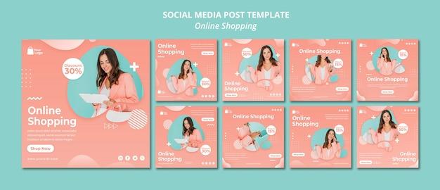 Social media postsjabloon met online boodschappen