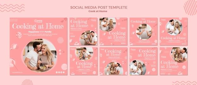 Social media postsjabloon met thuis koken