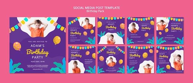 Social media postsjabloon met verjaardagsfeestje