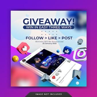 Social media postsjabloon met weggeefactie voor instagram