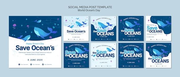 Social media postsjabloon met wereld oceaandag