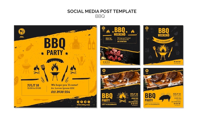 Social media postsjabloon voor barbecuefeest