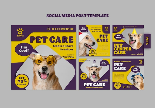 Social media postsjabloon voor dierenverzorging