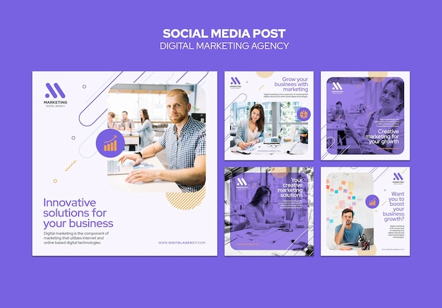 Social media postsjabloon voor digitale marketingbureau