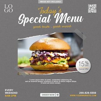 Social media postsjabloon voor eten en restaurant