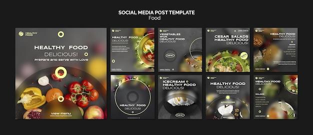Social media postsjabloon voor gezond eten