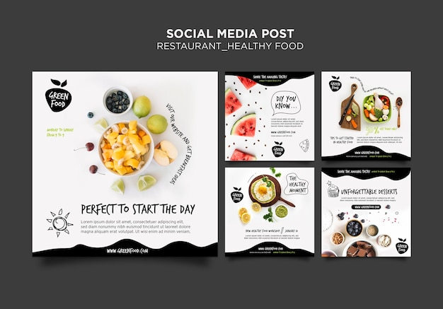 Social media postsjabloon voor gezonde voeding