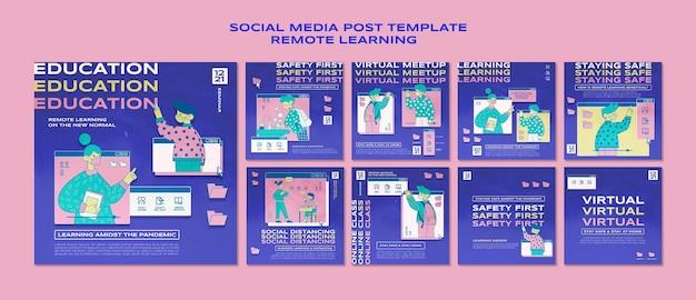 Social media postsjabloon voor leren op afstand