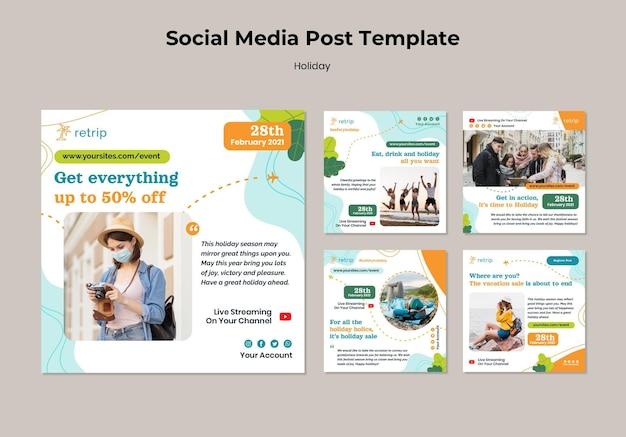 Social media postsjabloon voor vakantieverkoop