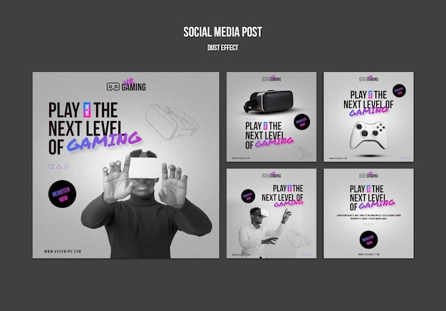 Social media postsjabloon voor virtual reality gaming