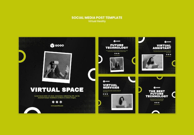 Social media postsjabloon voor virtuele realiteit