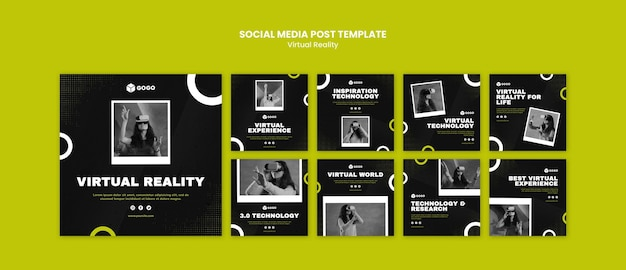 Social media postsjabloon voor virtuele realiteit