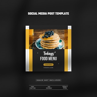 Social media restaurant fastfood menu en instagram food banner post met een schone luxe sjabloon