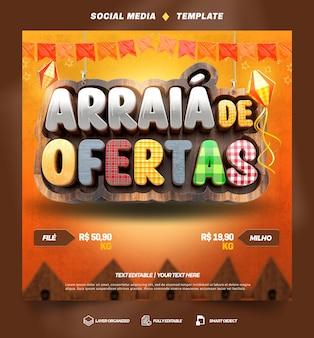 Social media-sjabloon arraia junina-feestaanbiedingen in het braziliaans