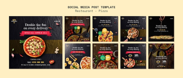 Social media sjabloon voor pizzarestaurant Gratis Psd