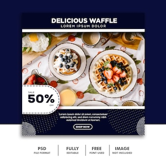 Social media sjabloon voor spandoek instagram, voedselwafel
