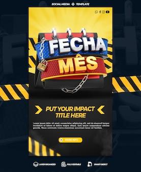 Social media-sjabloonverhalen sluiten maandpromotiewinkels in algemene campagnes in brazilië