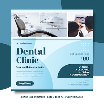 Social media square banner ontwerpsjabloon minimalistische stijl tandheelkundige kliniek
