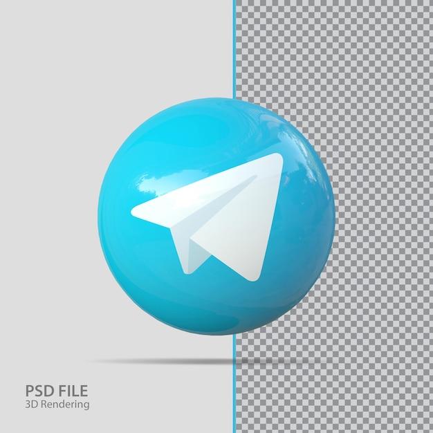 Social media telegram 3d render