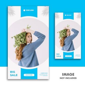 Social media template banner storia di instagram, fashion girl blue sale