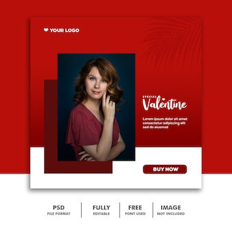 Social media valentine template instagram, moda