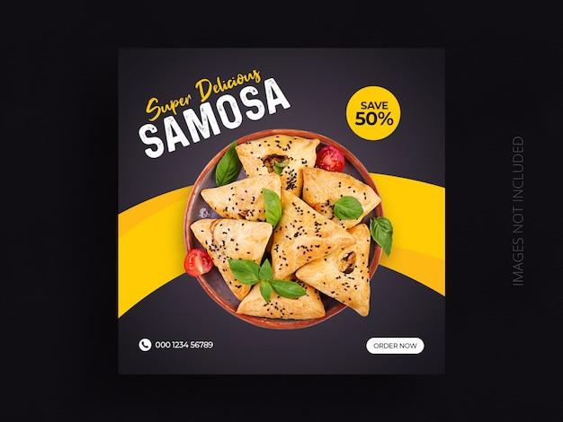 Social media van het voedselrestaurant plaatsen vierkant het malplaatjeontwerp van de webbanner